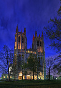 Stone Digital Art Posters - Digital Liquid - Washington National Cathedral After Sunset Poster by Metro DC Photography