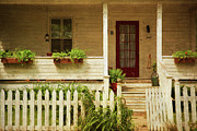 Entrance Door Posters - Digital painting of front porch rural farmhouse Poster by Sandra Cunningham