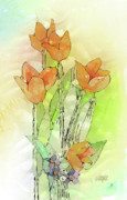 Digital Tulips Print by Arline Wagner