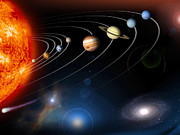 Solar System Prints - Digitally Generated Image Of Our Solar Print by Stocktrek Images