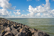 Flevoland Art - Dike along a lake in autumn by Jan Marijs