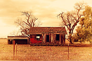 Old Farm Houses Framed Prints - Dilapidated Old Farm House . 7D10341 Framed Print by Wingsdomain Art and Photography