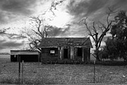 Old Farm Houses Framed Prints - Dilapidated Old Farm House . 7D10341 . black and white Framed Print by Wingsdomain Art and Photography