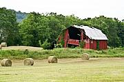 Tennessee Hay Bales Prints - Dilapidated Old Red Barn Print by Douglas Barnett