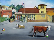 Marin County Digital Art Prints - Dillion Beach Cows Print by Kathryn LeMieux