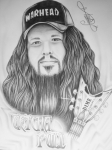 Picture Hat Drawings Framed Prints - Dimebag Darrell Framed Print by Charles Johnson Jr