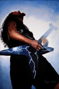 Hard Rock Framed Prints - Dimebag is GD Electric Framed Print by Al  Molina