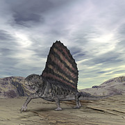 Paleozoology Art - Dimetrodon Grandis Traverses Earth by Walter Myers