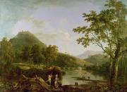 Richard Art - Dinas Bran from Llangollen by Richard Wilson