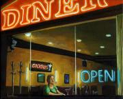 Linda Apple Photo Metal Prints - Diner - Night Oil Painting Metal Print by Linda Apple