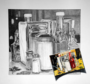 Vinegar Drawings Posters - Diner Study Poster by Duncan  Way