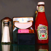Packaged Framed Prints - Diner Table Condiments and Other Items - 5D18035- Painterly Framed Print by Wingsdomain Art and Photography