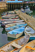 Dinghy Photos - Dinghies at Dock in Bar Harbor Maine by Jack Schultz
