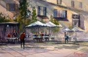 Streetscape Painting Originals - Dining Alfresco by Ryan Radke