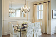 Laminate Framed Prints - Dining Area and Chandelier Framed Print by Shannon Fagan