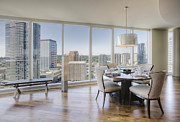 Flooring Framed Prints - Dining Area With View of City Framed Print by Andersen Ross