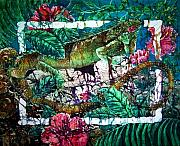 Flora Tapestries - Textiles Posters - Dining at the Hibiscus Cafe - Iguana Poster by Sue Duda
