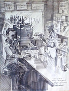 Register Drawings Framed Prints - Dining at Wilsons Restaurant Framed Print by Bill Joseph  Markowski