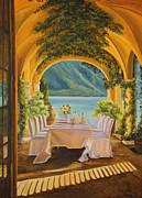 Dining On Lake Como Print by Charlotte Blanchard