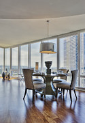 Flooring Prints - Dining Table and Chairs with City View Print by Andersen Ross