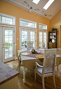 French Doors Metal Prints - Dining Table in Kitchen Metal Print by Andersen Ross