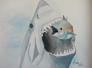 White Shark Prints - Dinner Print by Amanda Burek
