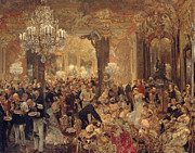 Ball Room Painting Posters - Dinner at the Ball Poster by Adolf Friedrich Erdmann von Menzel