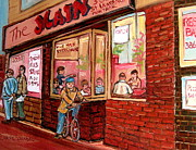 Resto Cafes Posters - Dinner At The Main Steakhouse Poster by Carole Spandau