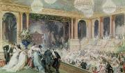 Ballroom Painting Posters - Dinner at the Tuileries Poster by Henri Baron