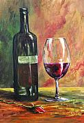 Rose Wine Paintings - Dinner for One by Beth Maddox