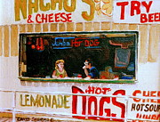 Hot Dog Stand Paintings - Dinner For Two Atlantic City On The Boardwalk   by Carole Spandau