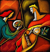 Men And Women Paintings - Dinner by Leon Zernitsky