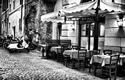 Outdoor Cafe Photo Prints - Dinner Scene in Rome Print by John Rizzuto