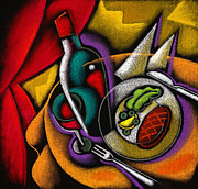 Healthy Eating Paintings - Dinner with wine by Leon Zernitsky