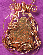 Utah Jewelry - Dinosaur Bone Fossil Fragment and Copper Pendant by Heather Jordan
