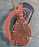 Utah Jewelry - Dinosaur Bone Fragment and Copper Pendant by Heather Jordan