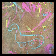 Dinosaur Art - #dinosaur #chalk #pink #paint by Samantha Huynh
