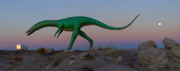 Moon Art - Dinosaur Loose on Route 66 2 by Mike McGlothlen