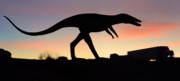 Silhouette Digital Art Prints - Dinosaur Loose on Route 66 Print by Mike McGlothlen
