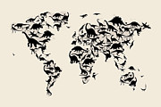 Ankylosaurus Prints - Dinosaur Map of the World Map Print by Michael Tompsett