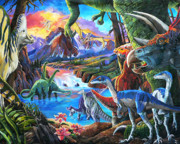 Dinosaurs Painting Prints - Dinosaur Print by Nadi Spencer