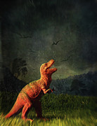 Fake Posters - Dinosaur toy figure in surreal landscape Poster by Sandra Cunningham
