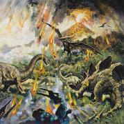 Beasts Paintings - Dinosaurs and Volcanoes by English School