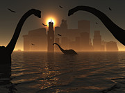Digitally Generated Image Art - Dinosaurs Feed Near The Shores by Mark Stevenson