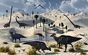 Saurischia Posters - Dinosaurs Gather At A Life Saving Oasis Poster by Mark Stevenson