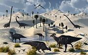 Dinosaurs Gather At A Life Saving Oasis Print by Mark Stevenson