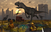 Digitally Generated Image Art - Dinosaurs Run Wild And Robotic Androids by Mark Stevenson