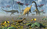 Dinosaurs Posters - Dinosaurs Running Around An Imaginative Poster by Mark Stevenson