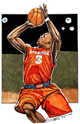 Ncaa Drawings Prints - Dion Waiters Print by Dave Olsen
