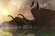 Quadruped Prints - Diplodocus Dinosaurs And Pterodactyl Print by Corey Ford